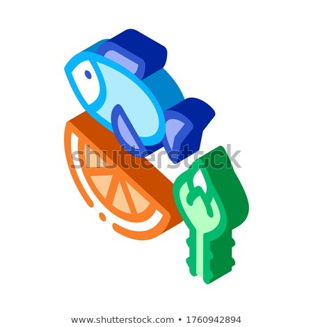 Nutrients of Fish and Fruit Biohacking isometric icon vector illustration Stock photo © pikepicture