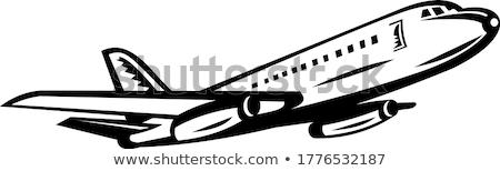 Jet strona retro czarno białe Zdjęcia stock © patrimonio