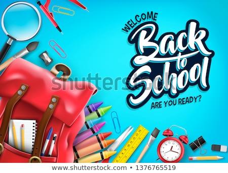 hát · iskola · papír · toll · háttér · kék - stock fotó © milsiart