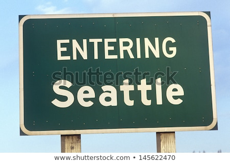 Stock fotó: Seattle · Washington · autópálya · tábla · zöld · USA · felhő