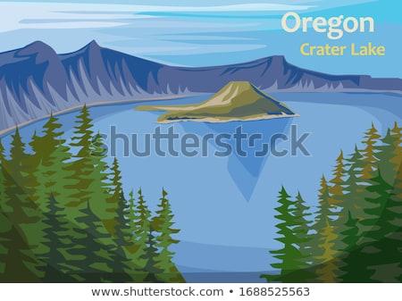 ilha · cratera · lago · parque · azul · Oregon - foto stock © jarenwicklund
