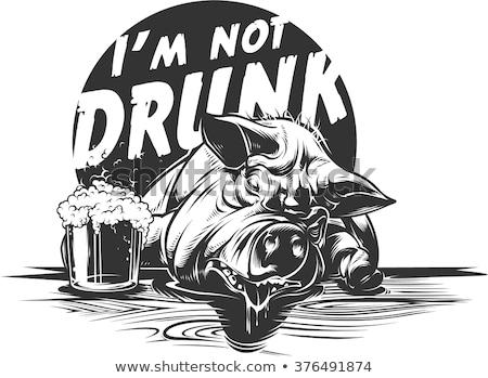 dronken · gelukkig · varkens · twee · liggen · vloer - stockfoto © ddvs71