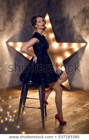 美少女 · 黒のドレス · 座って · 椅子 · 孤立した · 白 - ストックフォト © zybr78