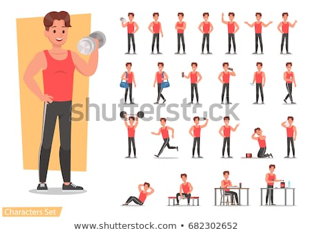 fitness shaped muscle man posing on gym Stock photo © lunamarina