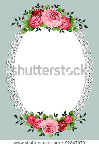 klasszikus · rózsák · virágcsokor · keret · csipke · űr - stock fotó © elak