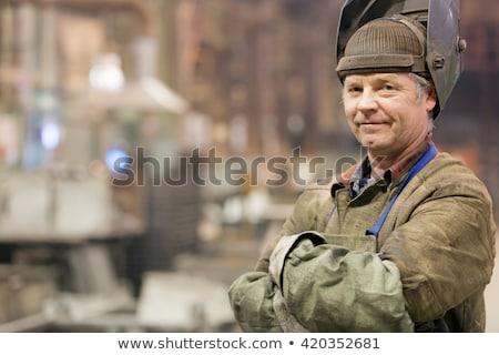 Idős kézműves hegesztés férfi munka fém Stock fotó © photography33