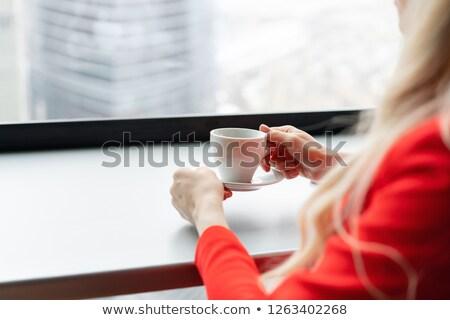 Kırmızı sandalye güzel sarışın kadın yukarı Stok fotoğraf © pdimages
