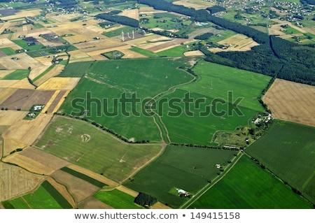 Luftbild Landschaft Dorf Ackerland Wasser Haus Stock foto © Taiga