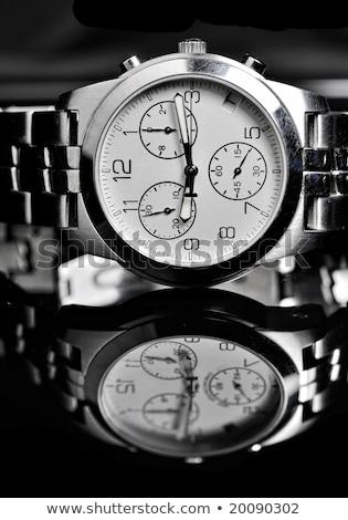Сток-фото: Mens Wrist Watch On Black Background Studio Shoot