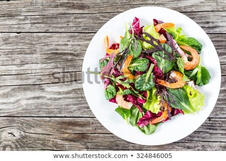 grilled shrimp and lettuce stock photo © m-studio