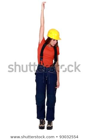 Felfelé láthatatlan tárgy nő építkezés test Stock fotó © photography33