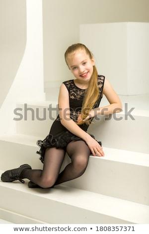 Csinos divatos női modern ruha pózol Stock fotó © gromovataya