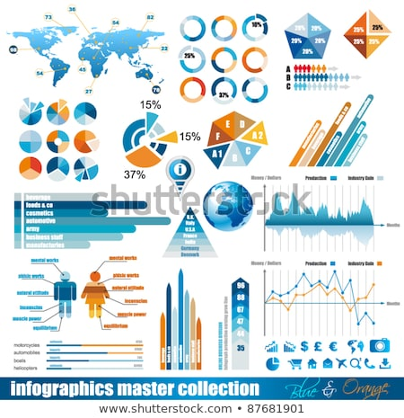 premium infographics master collection graphs histograms arrows chart 3d globe icons and a lot stock photo © davidarts