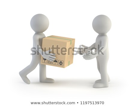 3d small people - parcel delivery Imagine de stoc © AnatolyM
