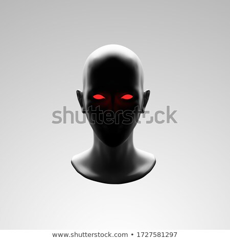Dark mannequin face with red eyes in the darkness Stock photo © Balefire9