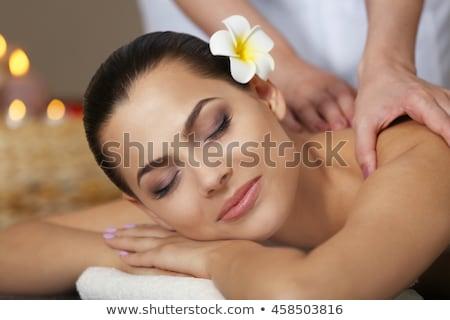 cute · donna · massaggio · stanza · mano · uomo - foto d'archivio © wavebreak_media
