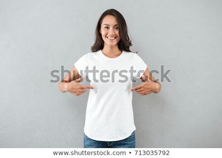 ストックフォト: 笑みを浮かべて · 十代の少女 · 白 · Tシャツ · 幸せ · 少女