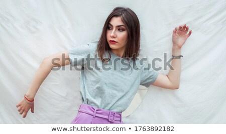 Solitaria ragazza posa bianco triste divertimento Foto d'archivio © wavebreak_media