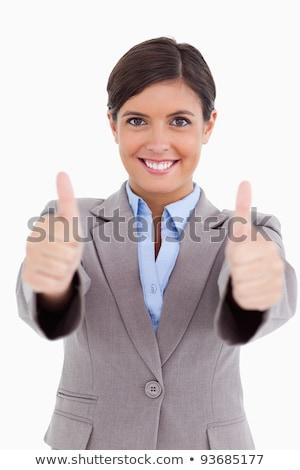 Közelkép női vállalkozó hüvelykujj felfelé fehér Stock fotó © wavebreak_media