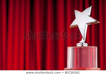 Stock foto: Star Award On Red Curtains