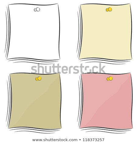 set of cartoon notes attached pushpin eps10 stock photo © larser