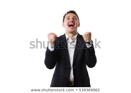 Business man throwing fists in air and smiling while celebrating Stock photo © HASLOO
