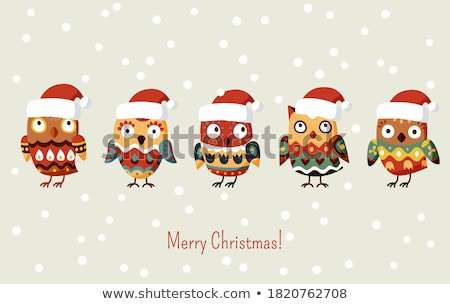 Ptaków rodziny Święty mikołaj hat ilustracja drutu Zdjęcia stock © qiun