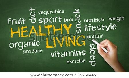 Sağlıklı yaşam kişi çizim işaret tebeşir Stok fotoğraf © kbuntu