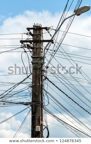 fotoğraf · elektrik · kutup · çok · kablolar · Tayland - stok fotoğraf © Lekchangply