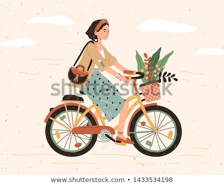 jonge · glimlachende · vrouw · fiets · vector · cartoon · geïsoleerd - stockfoto © zzve