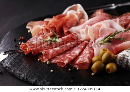 Stock fotó: Hideg · halom · füstölt · sonka · pepperoni · szalámi