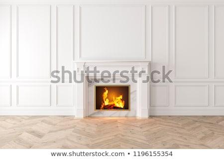 Bianco camino ceramica pezzi isolato fuoco Foto d'archivio © smuki