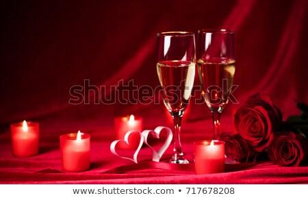 Corazón vela gafas champán día de san valentín fiesta Foto stock © Mikko