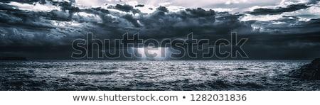 tempestuoso · céu · farol · pôr · do · sol · luz · oceano - foto stock © mycola