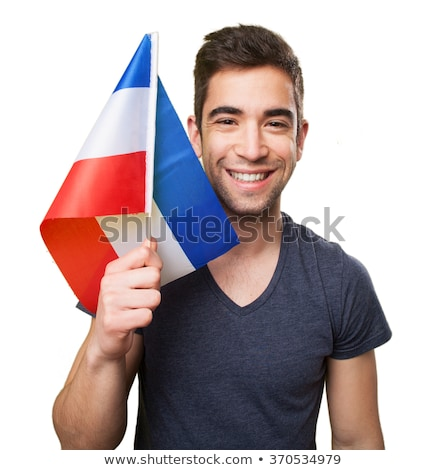 Slovenia flag. Man holding banner with Slovenian Flag. Stock photo © stevanovicigor