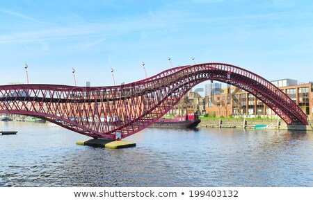 Blauw · brug · Amsterdam · rivier · Nederland · stad - stockfoto © joyr