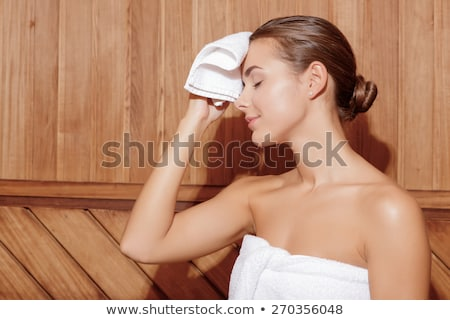 Nő izzadás szauna közelkép fiatal nő szépség Stock fotó © CandyboxPhoto
