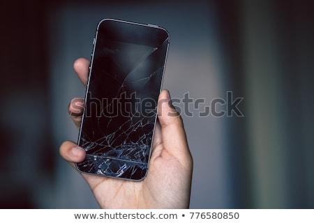 roto · blanco · vidrio · madera · ordenador · teléfono - foto stock © deyangeorgiev