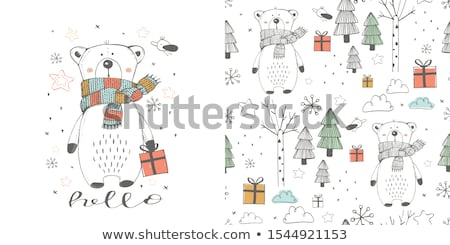 Sketch Teddy bear, vector seamless pattern stock photo © kali