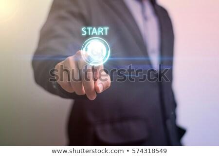 ストックフォト: 手 · 開始 · ボタン · 白 · チョーク