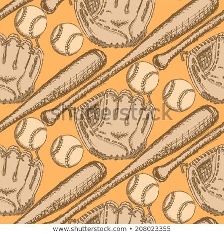 sketch baseball glove vintage seamless pattern stock photo © kali