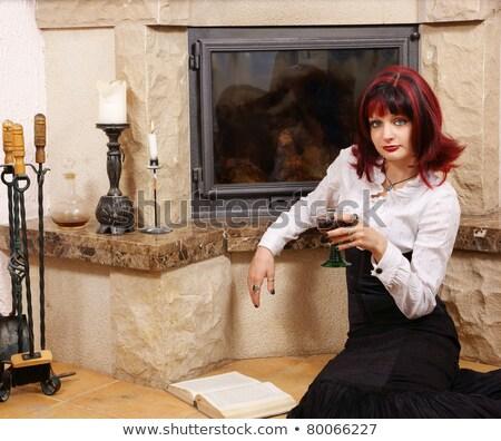 femme · cheminée · luxe · maison · vin - photo stock © nejron