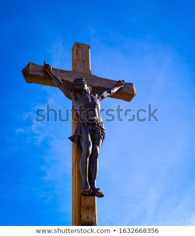 Jézus fa kereszt vér templom kő Stock fotó © morrbyte