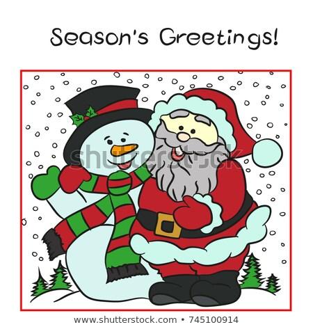 kerstman · vrienden · christmas · vector · boom · glimlach - stockfoto © blamb
