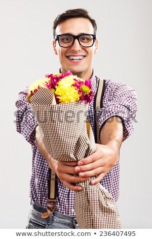 Nerd bloem pak steeg portret Stockfoto © feelphotoart