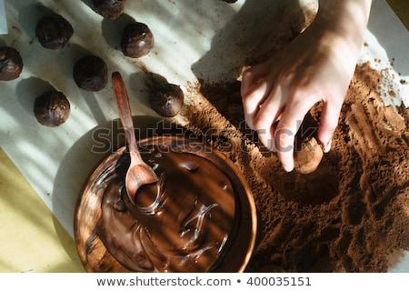 Lezzetli çikolata hediyeler el bant ahşap masa Stok fotoğraf © justinb