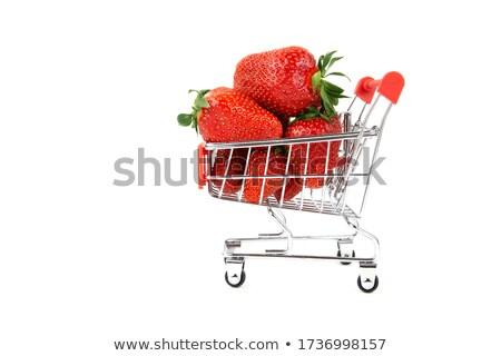 Morangos carrinho de compras fresco cromo isolado branco Foto stock © kimmit