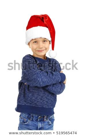 小 · 少年 · 笑みを浮かべて · 帽子 · 孤立した · 白 - ストックフォト © peterpolak
