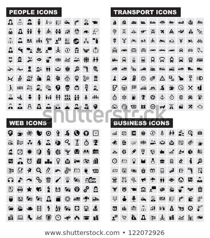 Transport przyciski czarno białe zestaw 12 internetowych Zdjęcia stock © cteconsulting