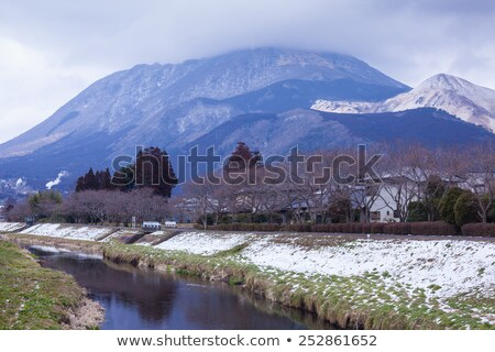 small village with mountain in yufuin japan stock photo © witthaya